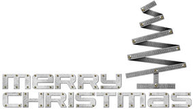 Merry Christmas Metal Folding Ruler Christmas Tree Royalty Free Stock Photography