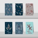 Merry Christmas mini cards-2017-Christmas leave theme Stock Photography