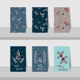 Merry Christmas mini cards-2017-Christmas leave theme Stock Photography