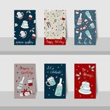 Merry Christmas mini cards-2017-party theme Stock Image