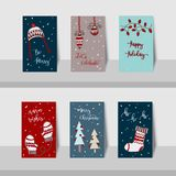 Merry Christmas mini cards-2017-Christmas warm wish theme stock illustration