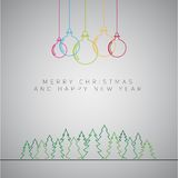Merry Christmas minimalistic illustration card with decorations Stock Image