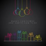 Merry Christmas minimalistic illustration card with decorations Stock Images