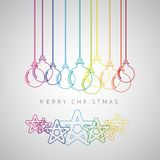 Merry Christmas minimalistic illustration card with decorations Royalty Free Stock Photography