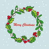 Merry Christmas mistletoe with berry. Traditional hand drawn christmas berry decoration greeting card. Holiday  christmas berry decoration Stock Image