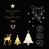 Merry Christmas mix1. Merry Christmas New Year golden mix elements tag, tree, reindeer, typography calligraphy text with gold shiny colors and snowflakes, star Royalty Free Stock Photography