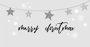 Merry Christmas background with black and silver star garlands Royalty Free Stock Photography