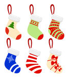 Merry Christmas Modern  illustration of Christmas socks with different design. Royalty Free Stock Photo
