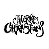 Merry Christmas modern lettering greeting card. Stock Photos