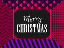 Merry Christmas modern pattern, fashionable background with stripes, stars and dots. Vector. Illustration Stock Images