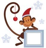 Merry Christmas  monkey Stock Photography