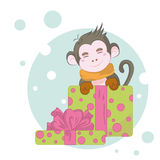 Merry Christmas monkey. The image monkey, a symbol of the coming of the new year royalty free illustration