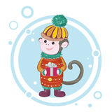 Merry Christmas monkey 2. The image monkey, a symbol of the coming of the new year Stock Photos