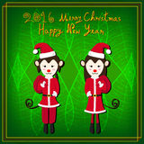 Merry Christmas Monkey Santa Green Background. Vector Illustration Royalty Free Stock Image