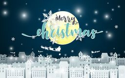 Merry Christmas. Moon and Santa Claus Driving in a Sledge over city at Night seance background. Paper art Style Royalty Free Stock Photo