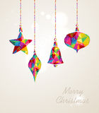 Merry Christmas multicolors hanging baubles composition Stock Photo