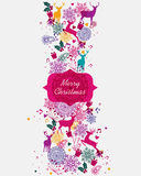 Merry Christmas multicolors postal card Royalty Free Stock Images