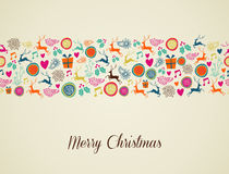 Merry Christmas multicolors reindeer illustration. Multicolors Christmas decorations elements seamless pattern background. EPS10 vector file organized in layers Royalty Free Stock Photos