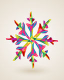 Merry Christmas multicolors snowflake illustration. Christmas holiday snowflake rainbow colors triangles origami composition. EPS10 vector file organized in Royalty Free Stock Photo