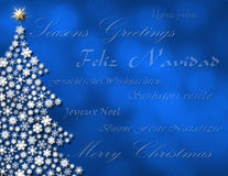 Merry Christmas in multiple lanuages. Blue glowing night time winter tree with Merry Christmas in 7 different languages Royalty Free Stock Photography