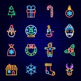 Merry Christmas Neon Icons. Vector Illustration of Winter Holiday Symbols stock illustration