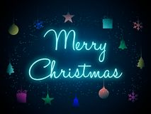Merry Christmas in neon letters. Vector illustration. royalty free illustration