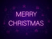 Merry Christmas in neon letters. Vector illustration. vector illustration