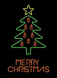 Merry christmas neon retro pine tree greeting card Stock Photo