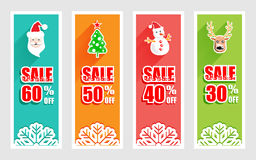 Merry Christmas and New Year banner with Christmas icon. And long shadow Stock Photo