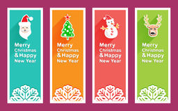 Merry Christmas and New Year banner with Christmas icon. And long shadow royalty free illustration
