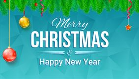 Merry Christmas and New Year banner with fir branches and Christmas toys on backdrop with triangles. Festive atmosphere. For greetings card, print design Royalty Free Stock Photos