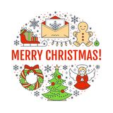 Merry Christmas new year banner illustration. Vector line icon of winter holidays christmas tree, gifts, angel, letter Royalty Free Stock Photography