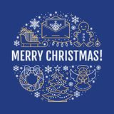 Merry Christmas new year banner illustration. Vector line icon of winter holidays christmas tree, gifts, angel, letter Stock Photo