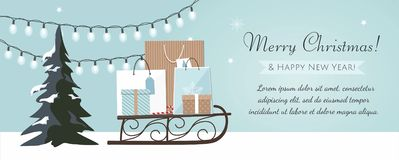 Merry Christmas and New Year banner with Christmas tree, gift boxes and garland on blue Background. royalty free illustration