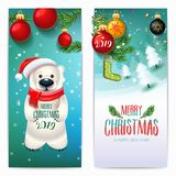 2019 Merry Christmas & New Year banners. vector illustration