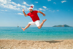 Merry Christmas and the new year on the beach.  Stock Photos