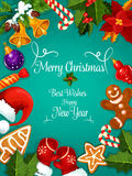 Merry Christmas, New Year best wishes, greeting. Merry Christmas and New Year greeting card, poster. Best Wishes congratulations fro New Year and Christmas Royalty Free Stock Photography