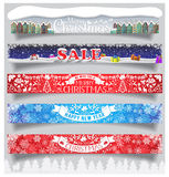 Merry Christmas and New Year big horizontal banners set with labels, symbols and icons. Standard for web proportions. Winter sale. Stock Photo