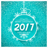 Merry christmas and New Year blue card background.Vector illustr. Merry christmas and New year holiday blue card with snowflakes for winter holiday Royalty Free Stock Image