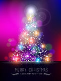 Merry christmas new year bokeh light blur pinetree Royalty Free Stock Photography