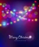 Merry christmas new year bokeh lights blur holiday. Merry christmas happy new year card design with festive xmas lights and colorful blur bokeh elements in the Royalty Free Stock Photo