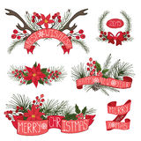 Merry Christmas ,New Year border,ribbons,group. Merry Christmas and Happy New Year group,horns,border,flowers,spruce,ribbons.Flat decor elements for invitations Stock Photo