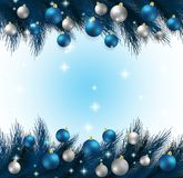 Merry Christmas,New year card and glitter decoration. blue and white background with  christmas. Balls.illustration Royalty Free Stock Images