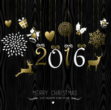 Merry Christmas New Year 2016 card gold decoration Royalty Free Stock Photography