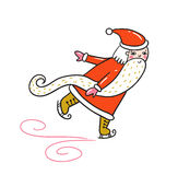 Merry Christmas and New year card with Santa Claus skating. Vector Holiday Illustration isolated on the white background. Hand drawn greeting card Royalty Free Stock Images