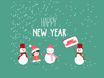 Merry Christmas and New Year Card with snowman Background.  royalty free illustration