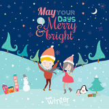 Merry Christmas and New Year card in vector Royalty Free Stock Photo