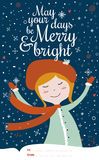 Merry Christmas and New Year card in vector Royalty Free Stock Images