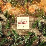 Merry Christmas and New Year card on wooden background with fir branches, pine cones and snowflakes on wooden background. Xmas and New Year theme, bokeh royalty free illustration