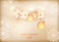 Merry Christmas New Year Celebration Background. Merry Christmas and New Year Celebration Background with Christmas baubles, glass beads, poinsettias, Xmas Royalty Free Stock Photography